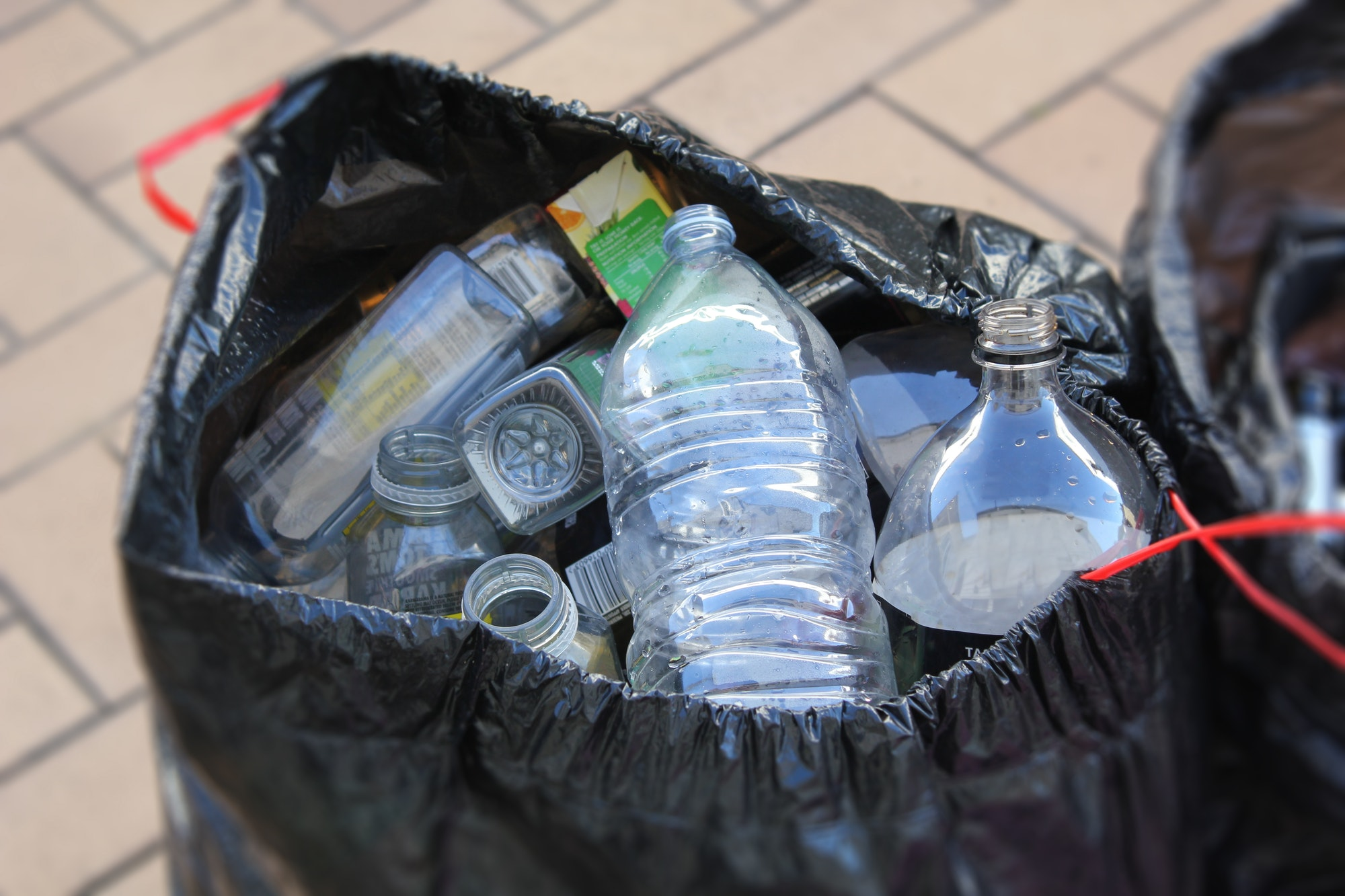 Taking plastic bottles to the recycling center