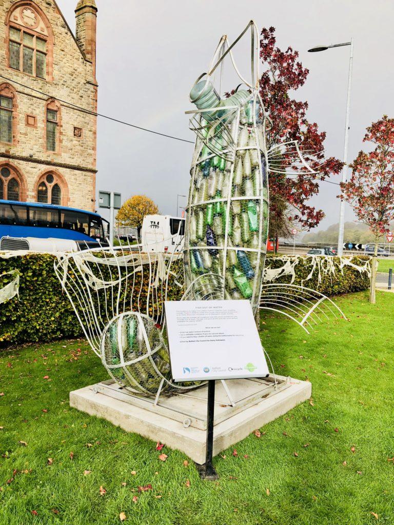 Statue recycling Derry street art